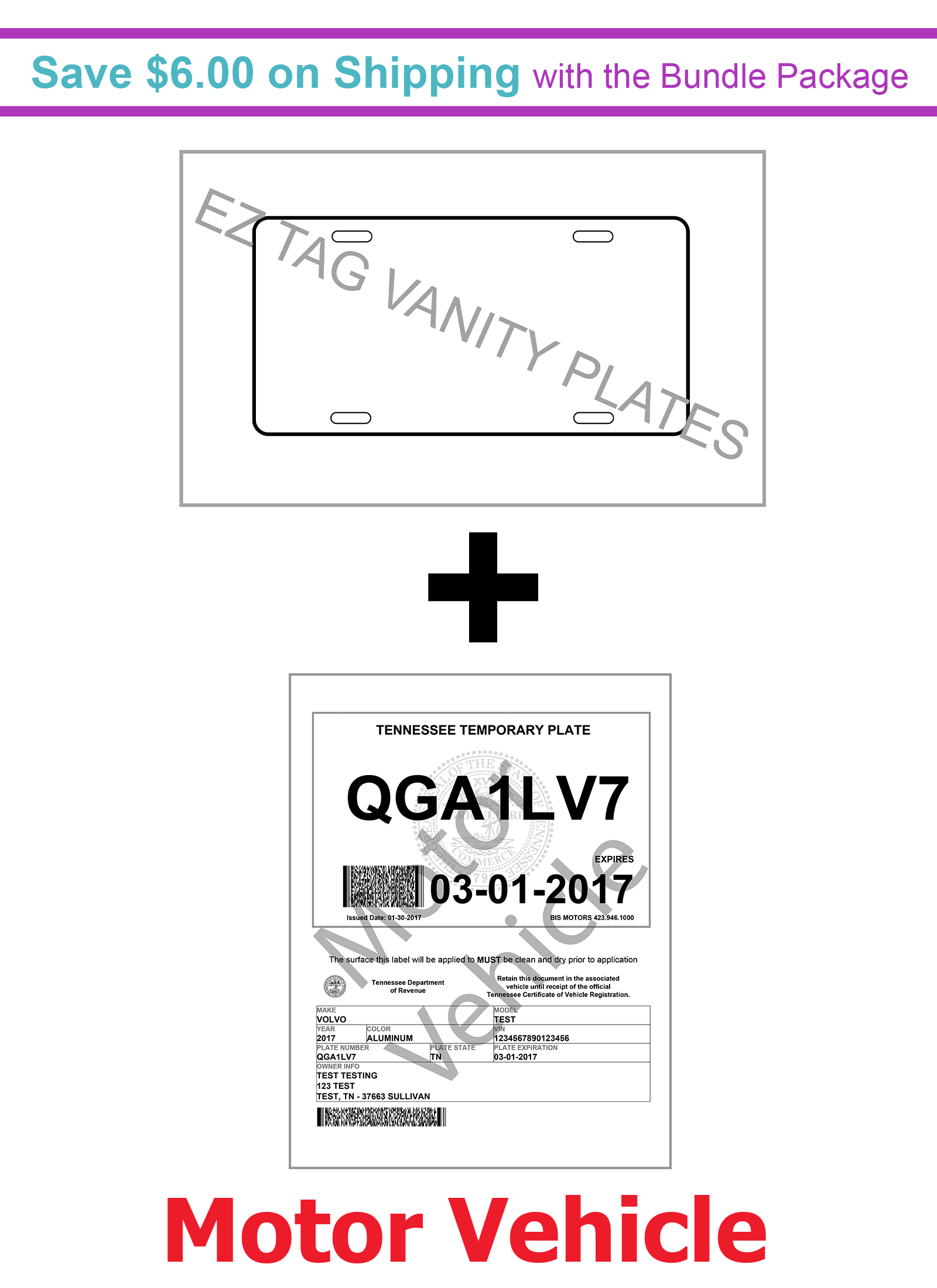 EZ Tag Motor Vehicle Paper (100 pack) and Vanity Plates (100 pack) - Save $6.00 on Shipping with Bundling<br>***Vanity plates will be in stock on Tuesday 06 March, 2018.