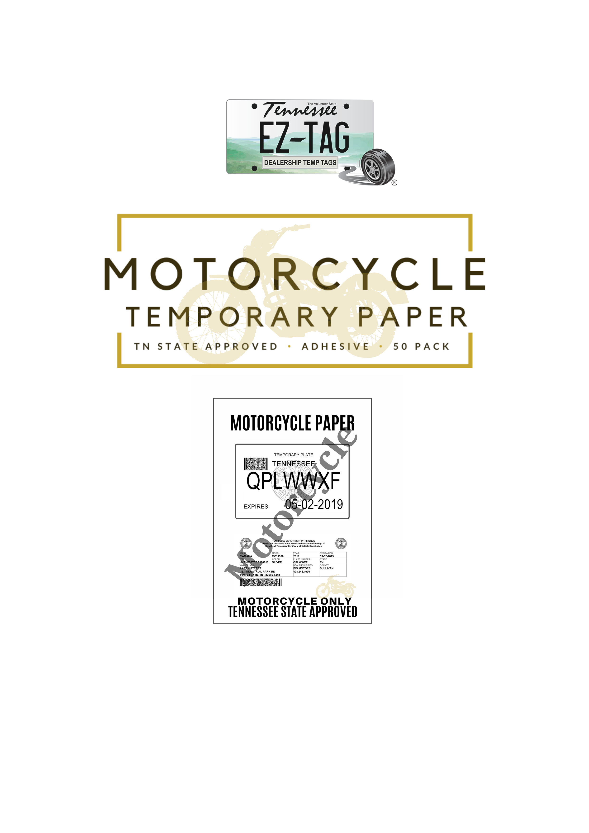 EZ Tag MOTORCYCLE Temporary Tag Paper (50 Pack)