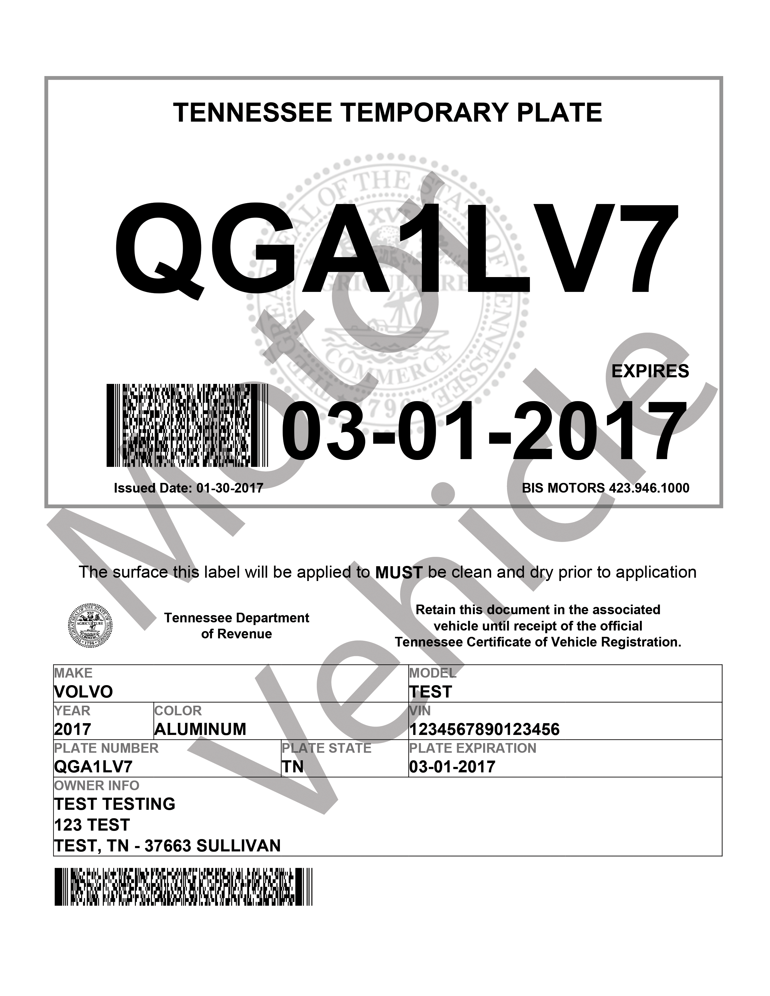 tennessee motor vehicle registration. Black Bedroom Furniture Sets. Home Design Ideas